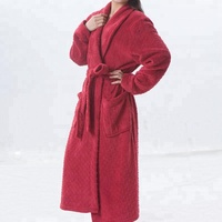 Alibaba New Design Bulk Casual Sleepwear Thermal Dressing Gown Shower Kimono Collar jacquard bathrobe Robes For Women
