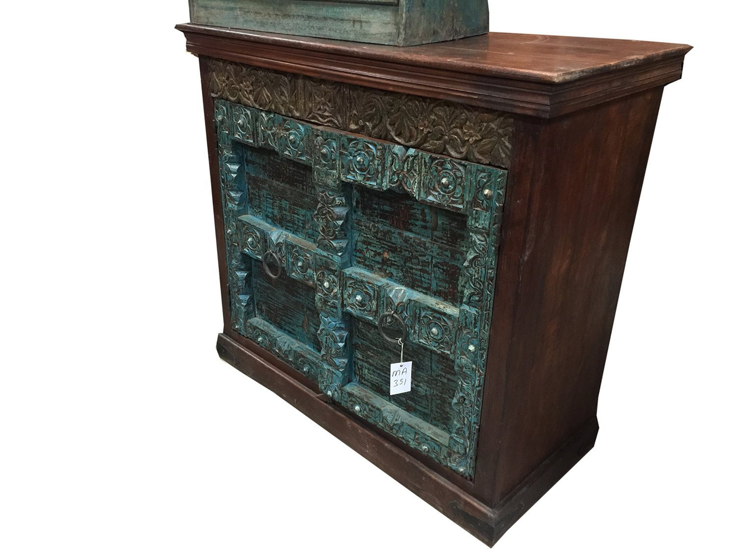 Vintage Gothic Doors Sideboard Hand Carved Wooden Console Cabinet Indian Chest