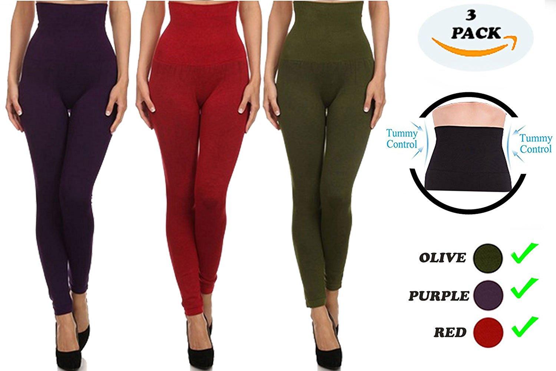 c13f3da1c3a86c Get Quotations · EAG One Size Fits All Leggings Solid Basic Leggings For  Women 3 Pack Fashion Leggings Spandex