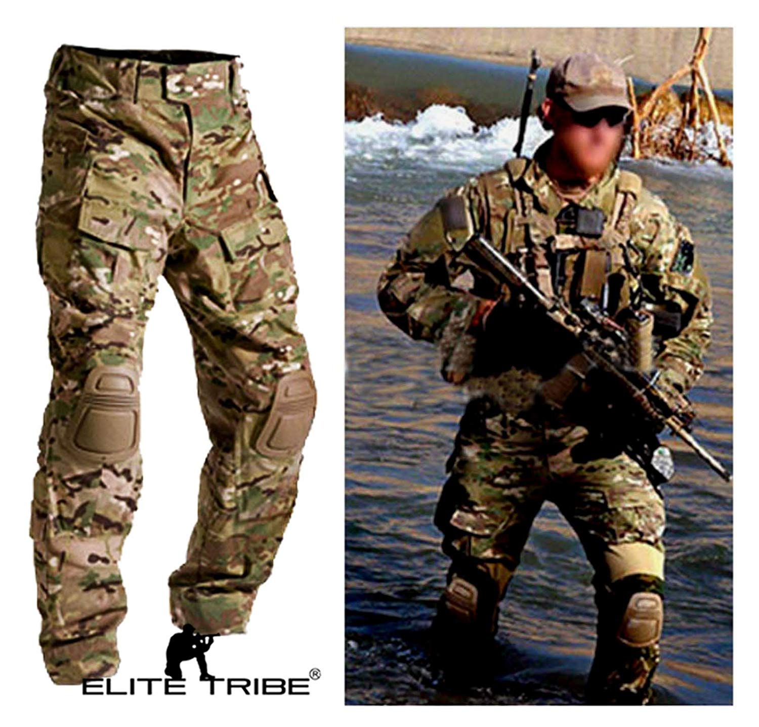 fbfe9df06bf65 Get Quotations · Men Army Military Equipment Airsoft Paintball Shooting BDU Pants  Combat Gen3 Tactical Pants with Knee Pads