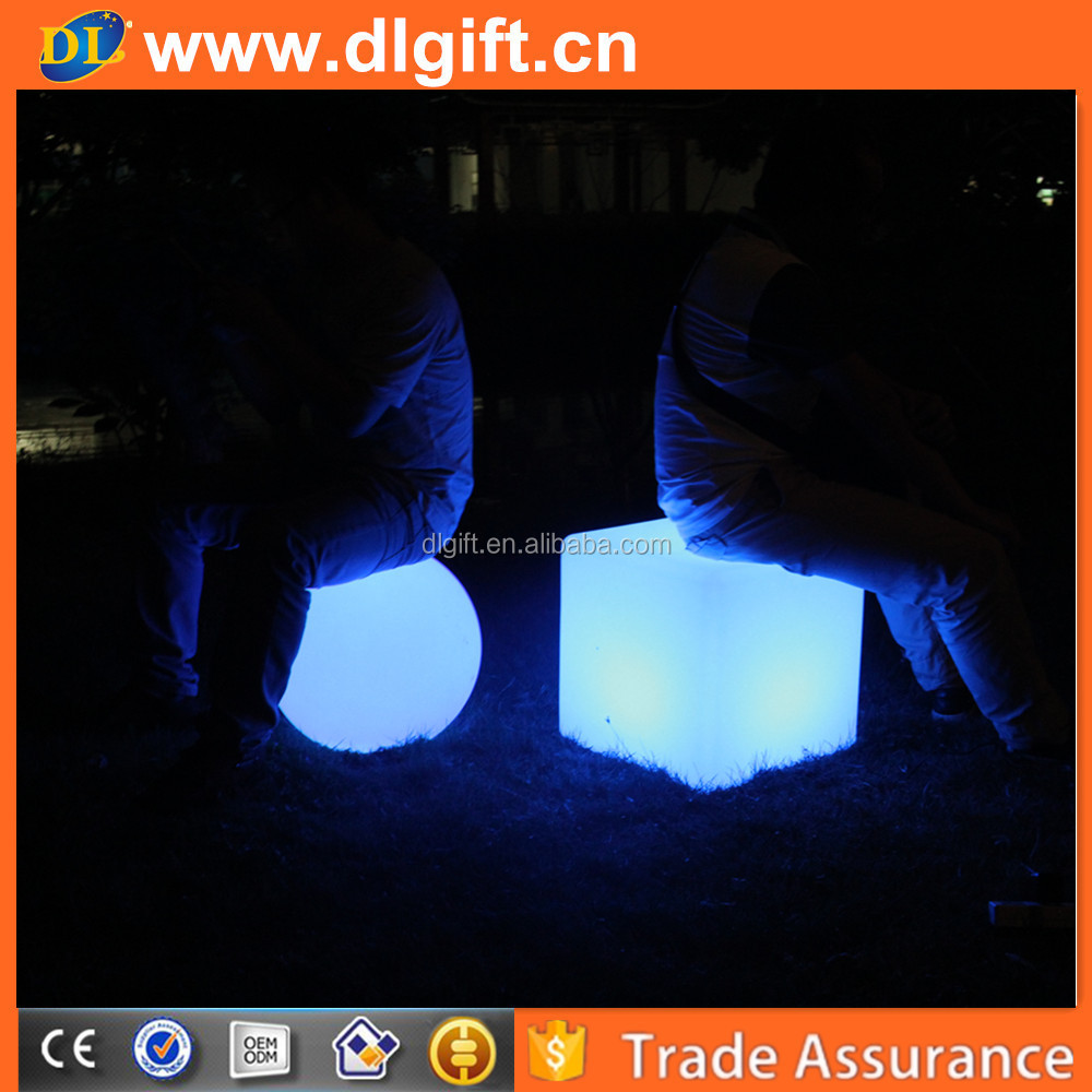 LED fashion club plastic bar chair cube seat