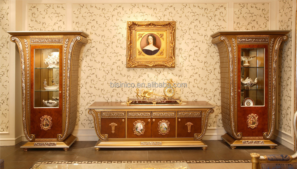 french luxury louis xv style wooden tv stand with showcase. Black Bedroom Furniture Sets. Home Design Ideas
