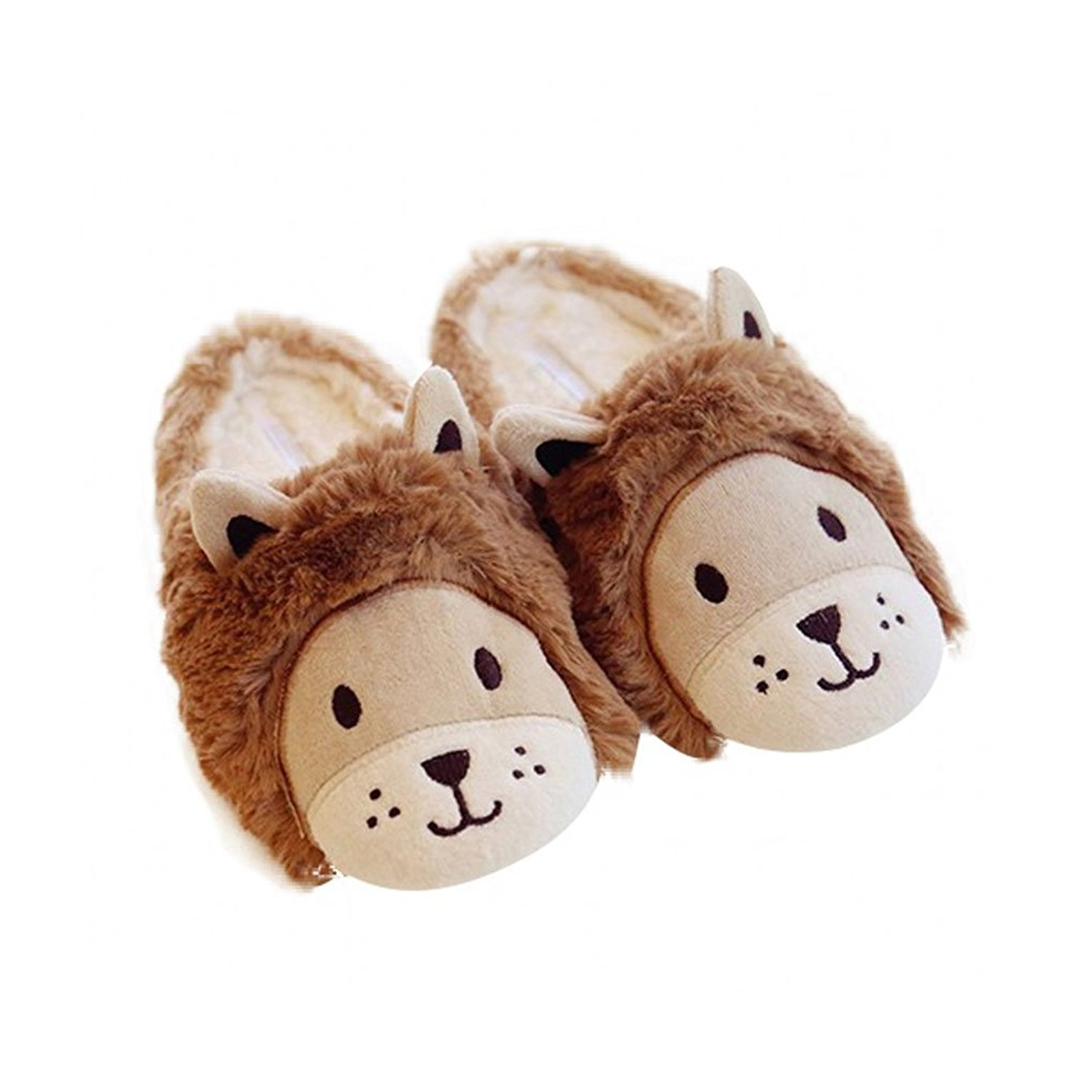 ORGEN HOME Cartoon Smile Lion 3D Animal Creative Slippers Cute Fuzzy Home Plush Slippers Cozy Fun Plush Indoor Shoe Soft Winter Clog For Women Warm Anti-Slip House Slippers Memory Foam Sole
