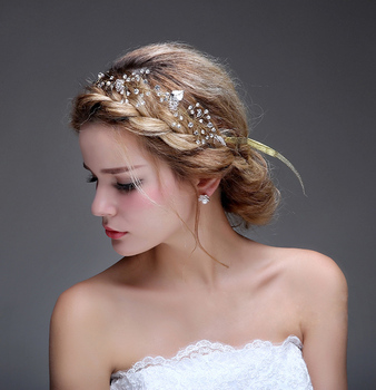 Charming Silver Handmade Headdress Wedding Headpiece Chain Crystal Pearl Bridal Hair Accessories