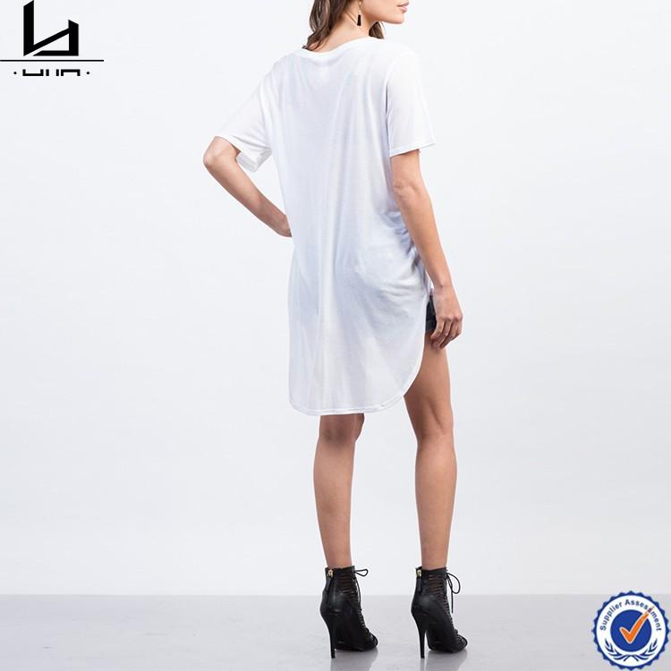 020024b23cc505 Cute low scoop neck bralette long tail sheer hi-low hem women t shirt