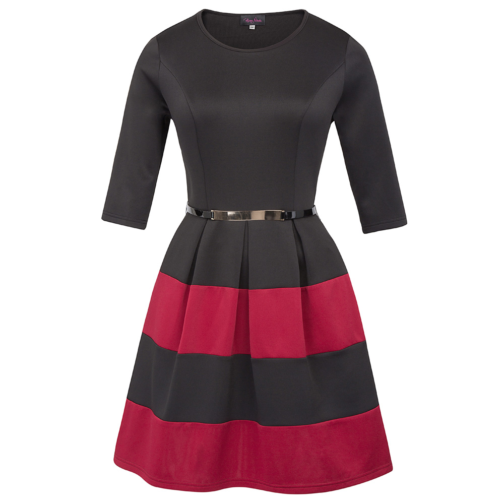 f2dce070a2d Hanna Nikole Women s 3 4 Sleeve Crew Neck Contrast Color Wine Plus Size  A-line Dress Hn0027-2 - Buy Plus Size Wine Dresses