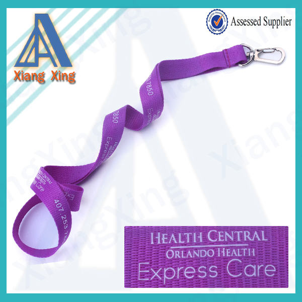 Polyester material cheap screen printing neck lanyard with detachable buckle