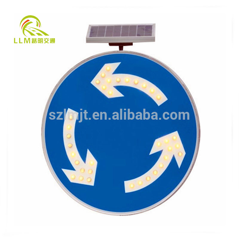Circular route solar powered traffic sign/3m reflective aluminum road circle signs