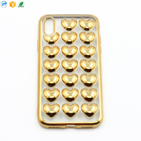Fashion design electroplated love heart phone case for iphone X