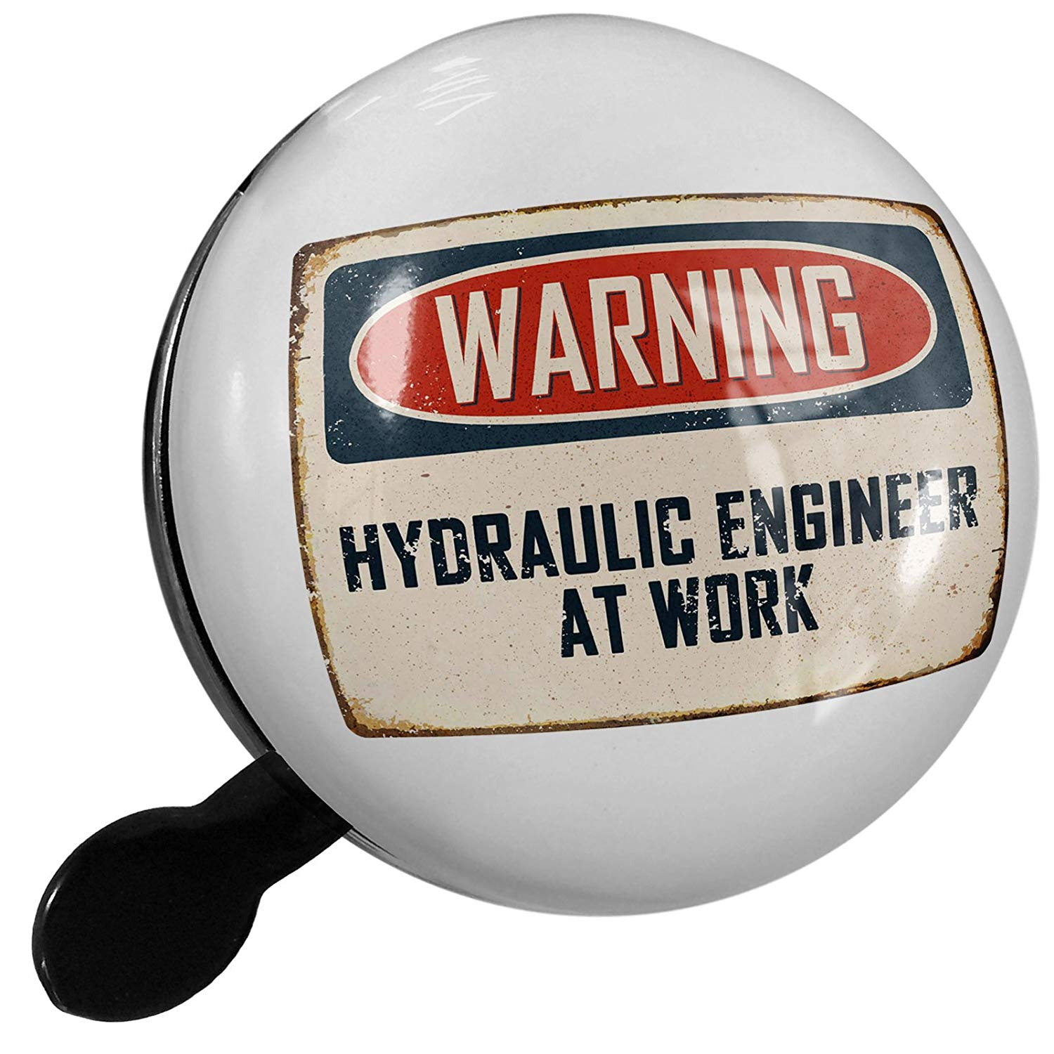 Small Bike Bell Warning Hydraulic Engineer At Work Vintage Fun Job Sign - NEONBLOND