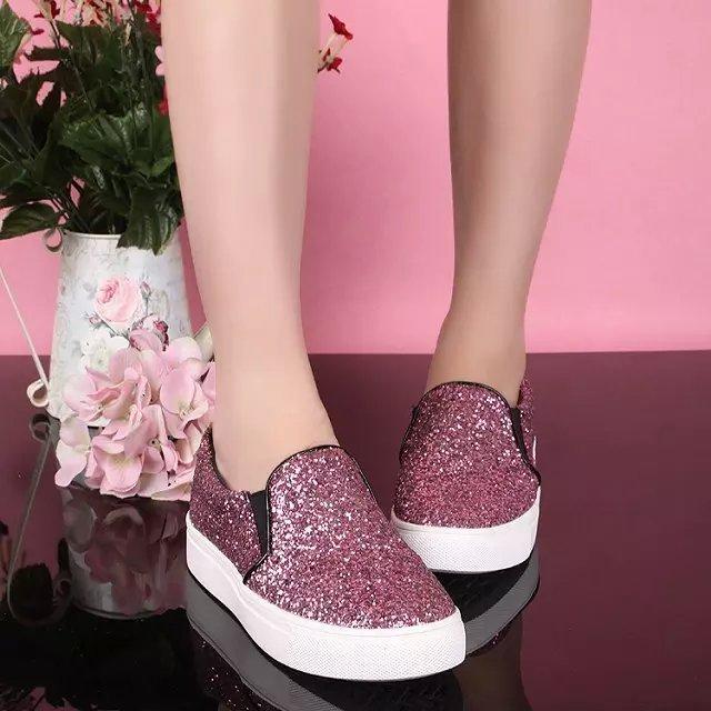 efd69979e10 Italian designer branded ladies latest fashion paillette women 2017 flat  casual shoes