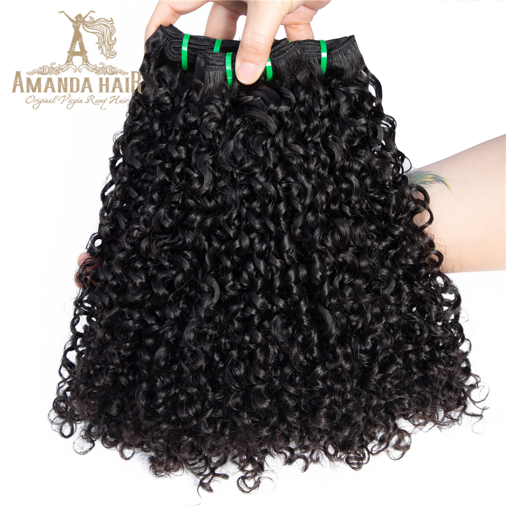 Amanda <strong>Hair</strong> 10A 11A 12A Grade Virgin Brazilian Cuticle Aligned Pixie Curl Double Drawn <strong>Hair</strong> Extensions