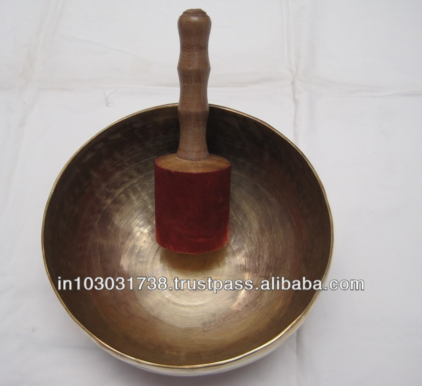 Buddhist Temple Bell Rin + Stick Set Copper Prayer Singing Bowl Gong Japan