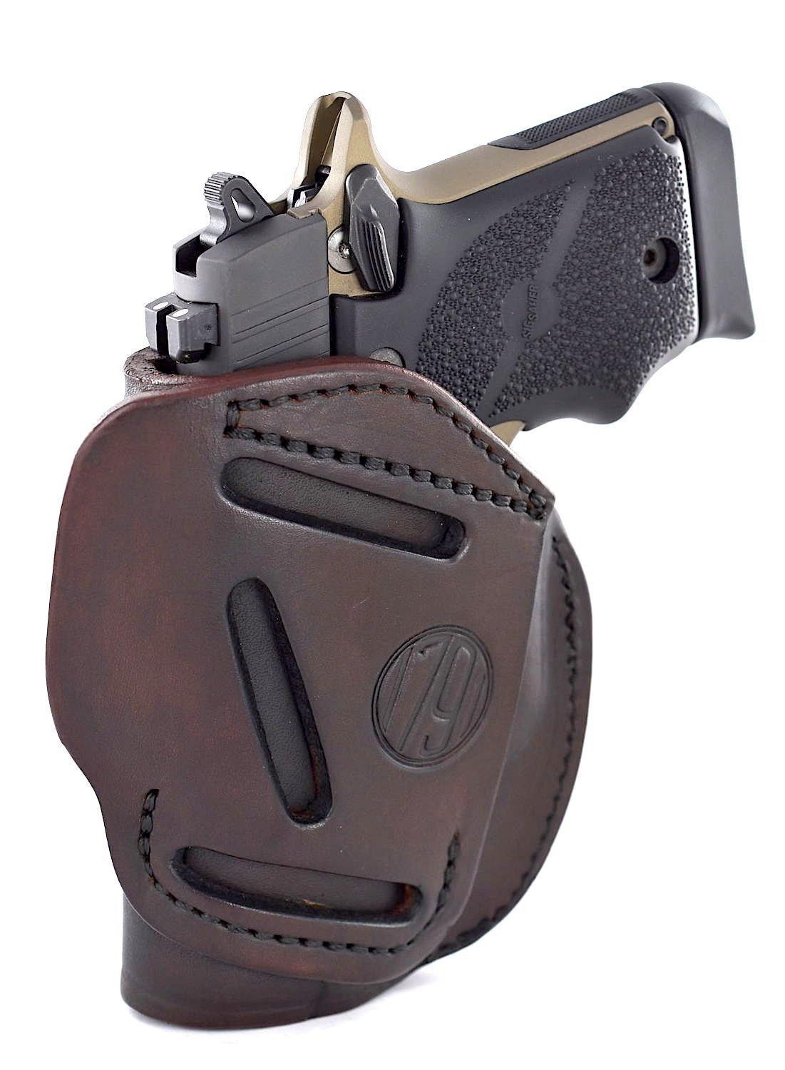 1791 GUNLEATHER 3-WAY SIG P938 Holster - OWB CCW Holster Ambidextrous - Right or Left Handed Leather Gun Holster - Fits Sig Sauer P938, P365 Ruger LCP 380, SW Bodyguard (3WH SIZE 2)