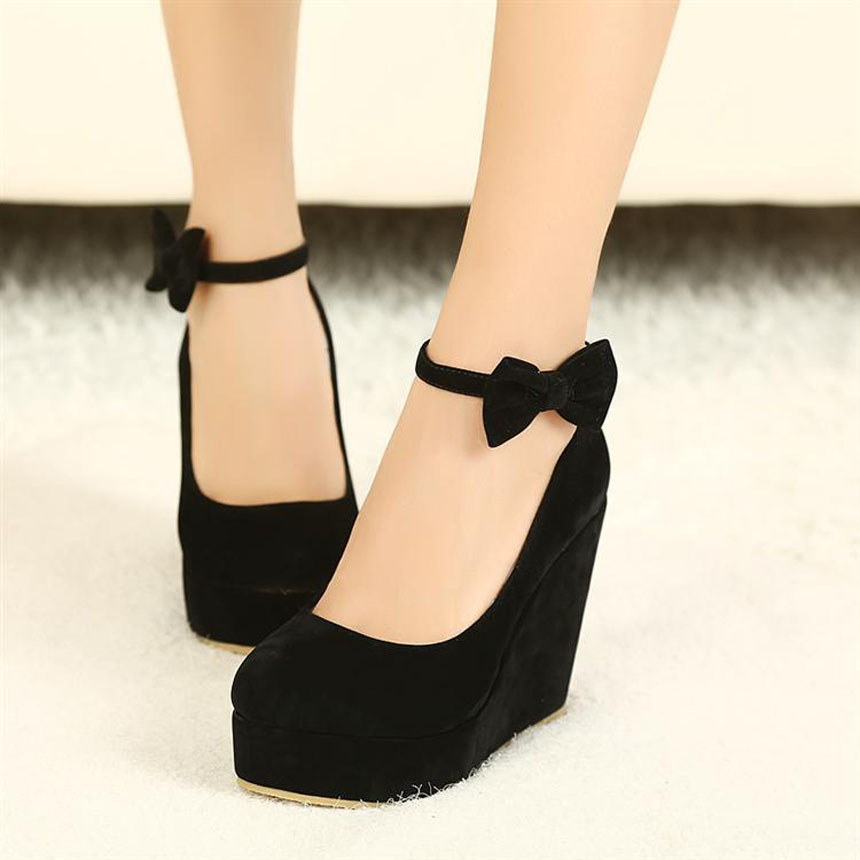 Women Cute Buckle Shoes Vogue Wedges High Heels Sexy Women ...