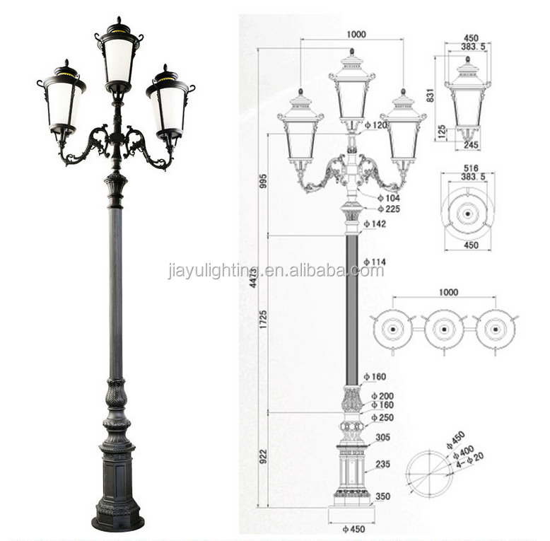 Germany Factory Price Cast Iron Road Pole/iron Decorative Garden Light Pole/antique Lamp Post