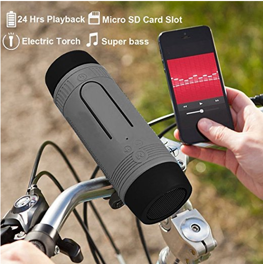 LED Flashlight Multifunctional BT Bicycle Speaker Handsfree Microphone for Outdoor Activities