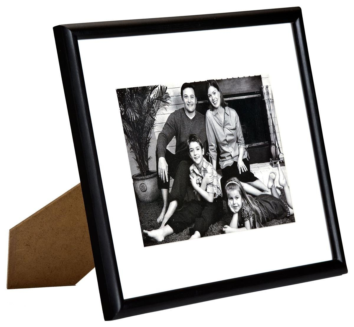 Displays2go Black Photo Frame, Wood, Matted, Choose 4x6, 5x7, or 8x10 - Set of 6
