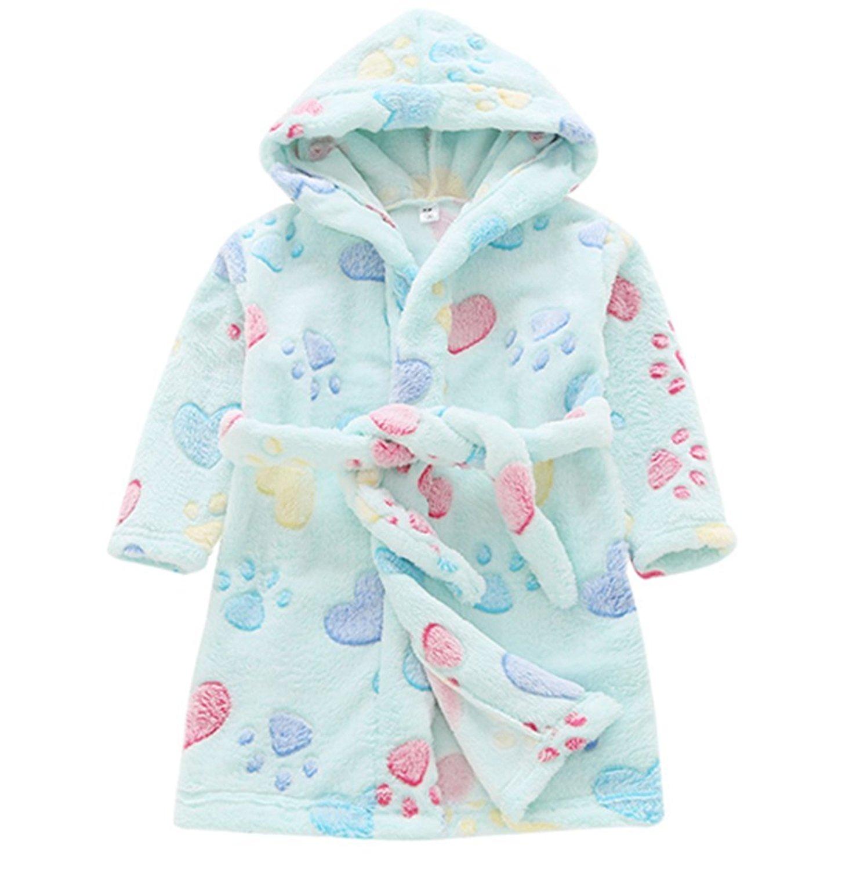 Nhockeric Autumn Winter Children Flannel Bathrobes Nightwear Boys Girls Pajamas Hooded Bathrobe Soft Bath Robe Cute Kids Robe Sleepwear Robes Girls