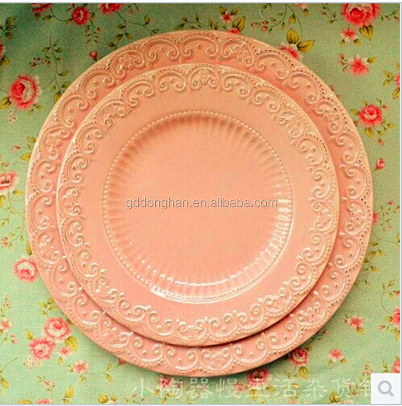 high end European retro relief Ceramic plates Pink Lace