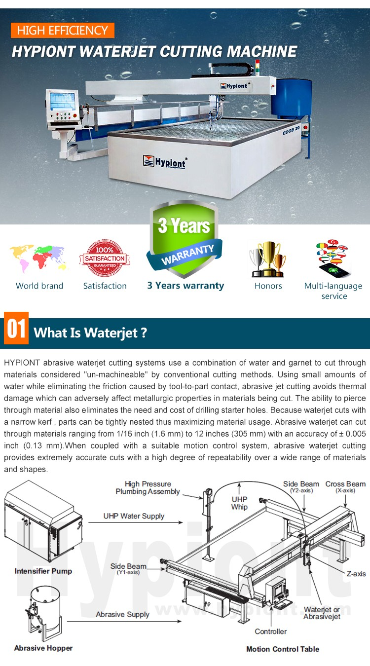 waterjet cutting machine for stainless steel cutting in a cheap price with CE TUV ISO9001 certifications and 3 years warranty
