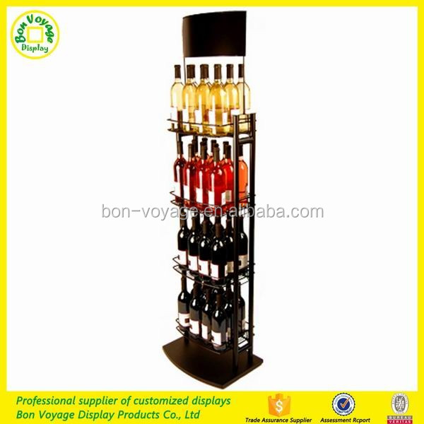 Point Of Purchase Wooden Beer Bottle Storage Rack Beverage Display Case