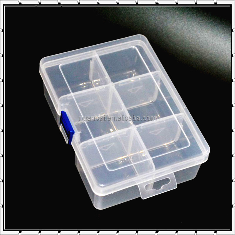 6 Compartments Clear PP Plastic DIY Divider Beads box Electronic Components Storage Bin box