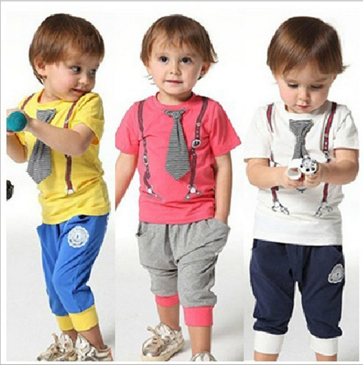 Wholesale baby cotton necktie suits and Harem Pants baby summer ...