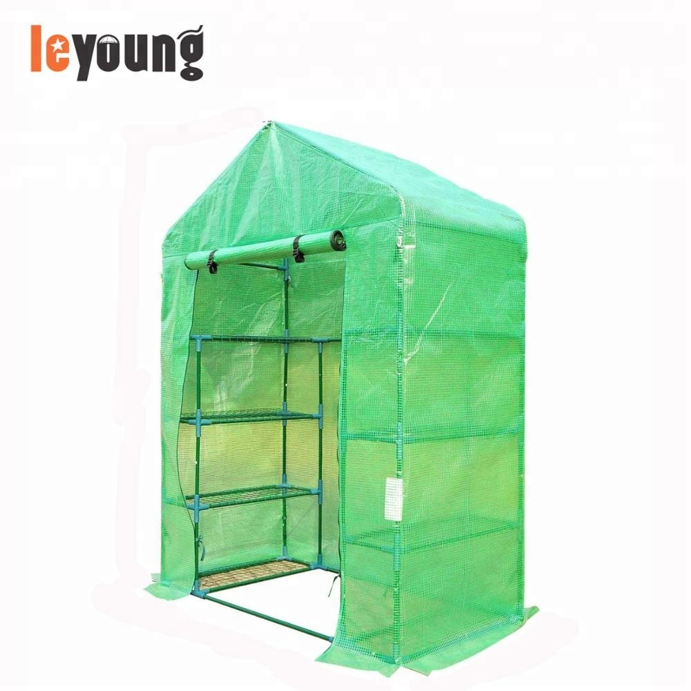 Walk in Garden Greenhouse with Shelves Polytunnel Steeple Green house Grow House Removable Cover