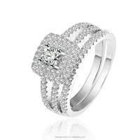 Classical CZ diamond paved engagement ring sets 18K white gold plated wedding ring