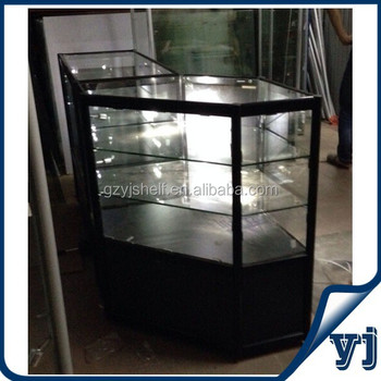 Shopping Mall Kiosk Aluminum Alloy Glass Perfume Display Cabinet With Led  Lights