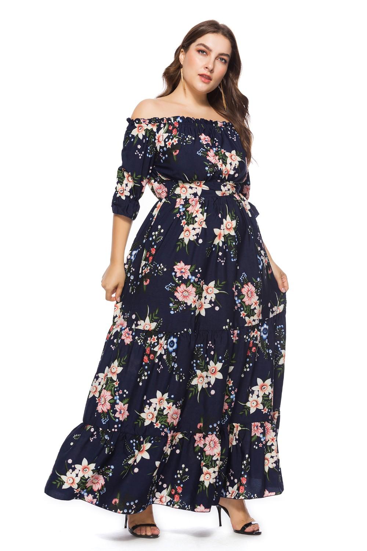 7xl Plus Size Clothing Women Long Chiffon Floral Print Dresses - Buy Party  Dresses,Chiffon Maxi Dresses,Ladies Clothes Product on Alibaba.com