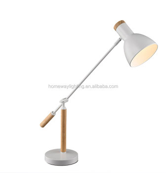 Nordic Modern Black And White Desk Lamp Solid Wood Iron Table Lamps  Creative Warm Bedroom Bedside