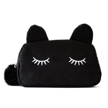 Bag Cartoon Cat Makeup Flannel Pouch