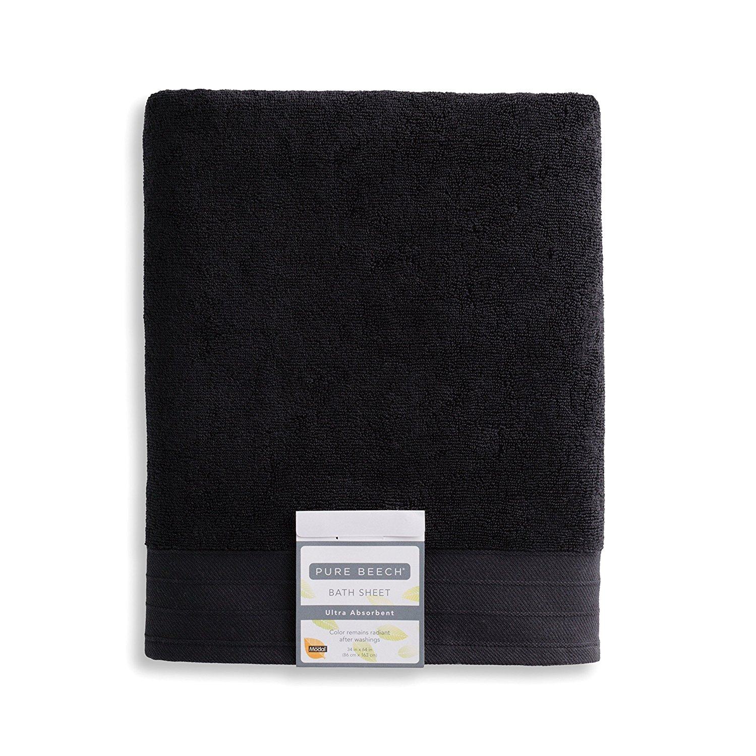 PURE PLANT HOME Pure Beech 3-Piece Bath Towel Set – Cotton Modal Blend - Hotel Quality, Bright, Super Soft and Highly Absorbent - Black