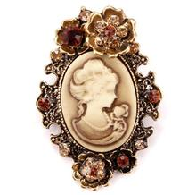 Antique jewelry European beautiful women cameo rhinestone brooch with golden flower