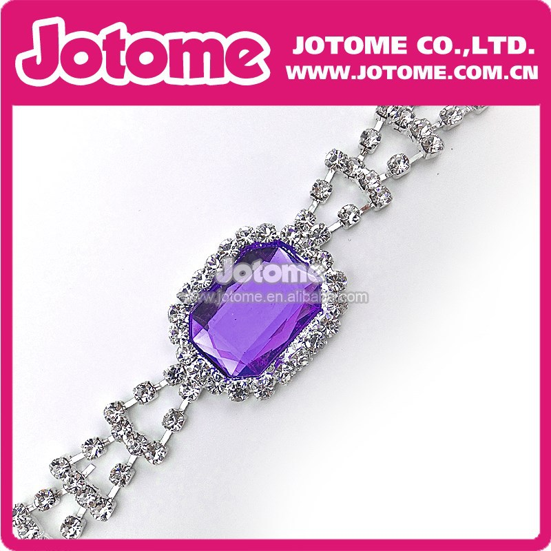 Swimsuit/Swimwear Accessories Wholesale Silver Metal Purple Crystal Acrylic Fashion Clear Rhinestone Chain Connector for Bikini