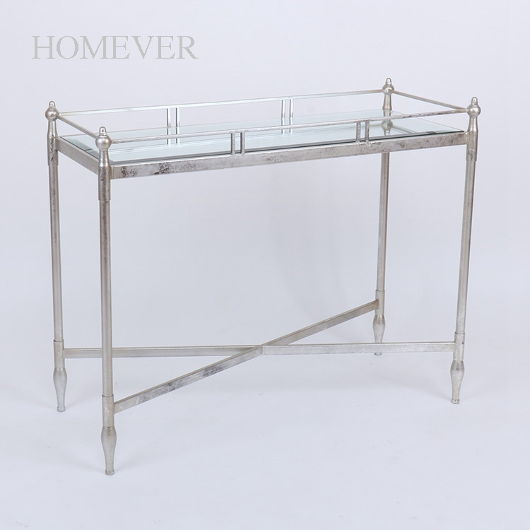 Large Silver Iron Mirror Top tray type console coffee table side table