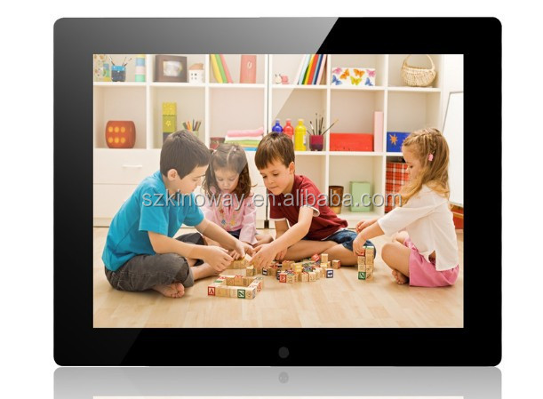 black 1024*768 lcd HDdigital photo frame horizontal and vertical display desktop or wall mount HD display and WiFi optional