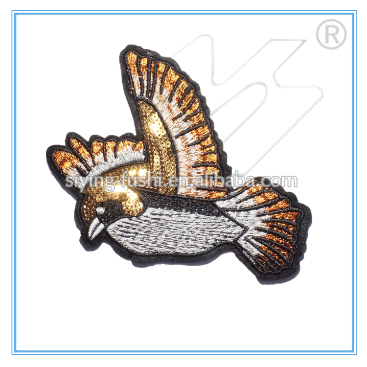 Indian bird shape iron on sequin embroidery patch for clothes