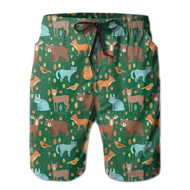FullBo Moose Deer Pattern Little Boys Short Swim Trunks Quick Dry Beach Shorts