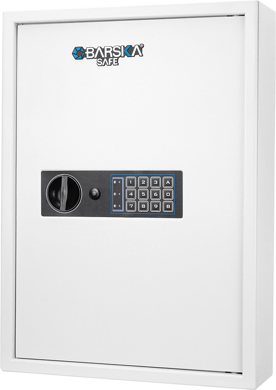 Barska 100 Key Cabinet Digital Wall Safe, White