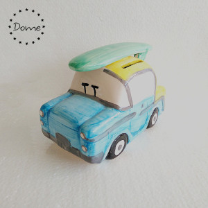 Wholesale creative ceramic car shape coin piggy bank