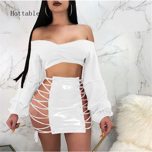 Fashion PU Faux Leather Skirt 2018 Summer High Waist Women Pencil Skirts Sexy Lace-up Plus Size Mini Bottoms