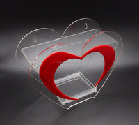 cheap heart shape counter top clear charity plastic desk money case acrylic donation box for fund raising
