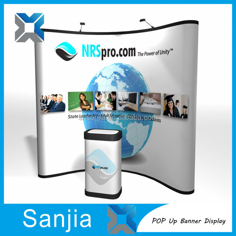 Custom size spring pop up display stand banner stands
