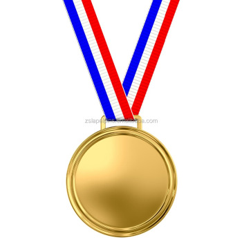 3D Custom Blank Sports gold medal with tricolor ribbon