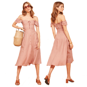 Elegant women pure linen dress short sleeves midi dress