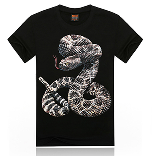 Free Shipping 2015 Fashion Design Men's Novelty 100% Cotton Snake 3D Printing T-shirt Whlesale Hot Sale 3D Tee For Men