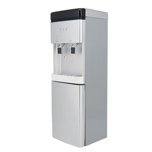 Vertical hot and cold water dispenser with mini fridge